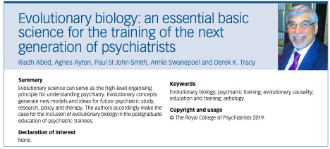 BJP article: Psychiatrists Need to Learn Evolution